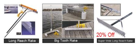 Lake beach pond rakes